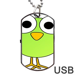 Bird Big Eyes Green Dog Tag Usb Flash (two Sides) by Alisyart