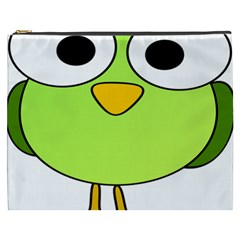 Bird Big Eyes Green Cosmetic Bag (xxxl)