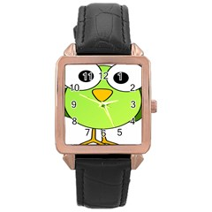Bird Big Eyes Green Rose Gold Leather Watch  by Alisyart