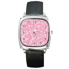 Pattern Square Metal Watch