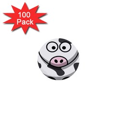 Animals Cow  Face Cute 1  Mini Buttons (100 Pack)