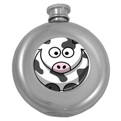 Animals Cow  Face Cute Round Hip Flask (5 Oz) by Alisyart