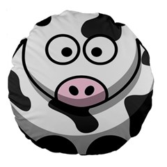 Animals Cow  Face Cute Large 18  Premium Round Cushions by Alisyart