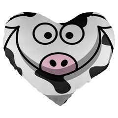 Animals Cow  Face Cute Large 19  Premium Heart Shape Cushions by Alisyart