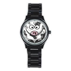 Animals Cow  Face Cute Stainless Steel Round Watch by Alisyart