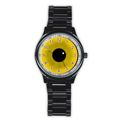 Big Eye Red Black Stainless Steel Round Watch by Alisyart