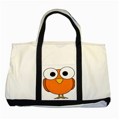 Bird Big Eyes Orange Two Tone Tote Bag
