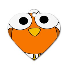Bird Big Eyes Orange Dog Tag Heart (one Side) by Alisyart