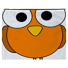 Bird Big Eyes Orange Cosmetic Bag (xxxl)