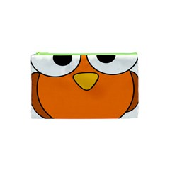 Bird Big Eyes Orange Cosmetic Bag (xs) by Alisyart