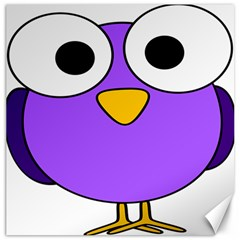 Bird Big Eyes Purple Canvas 12  X 12   by Alisyart