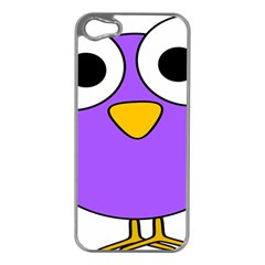 Bird Big Eyes Purple Apple Iphone 5 Case (silver) by Alisyart