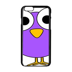 Bird Big Eyes Purple Apple Iphone 6/6s Black Enamel Case