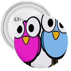 Bird Big Eyes Pink Blue 3  Buttons by Alisyart
