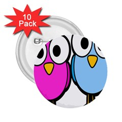 Bird Big Eyes Pink Blue 2 25  Buttons (10 Pack)