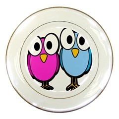 Bird Big Eyes Pink Blue Porcelain Plates