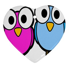 Bird Big Eyes Pink Blue Heart Ornament (two Sides)