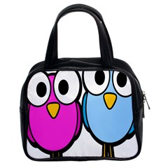 Bird Big Eyes Pink Blue Classic Handbags (2 Sides) by Alisyart