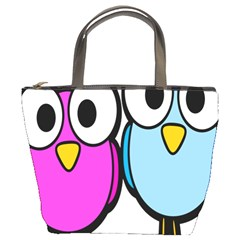 Bird Big Eyes Pink Blue Bucket Bags by Alisyart