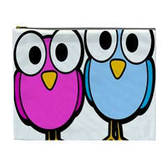Bird Big Eyes Pink Blue Cosmetic Bag (xl)