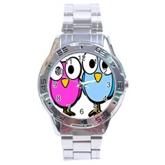 Bird Big Eyes Pink Blue Stainless Steel Analogue Watch by Alisyart