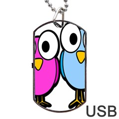 Bird Big Eyes Pink Blue Dog Tag Usb Flash (two Sides)