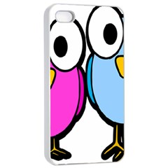 Bird Big Eyes Pink Blue Apple Iphone 4/4s Seamless Case (white)