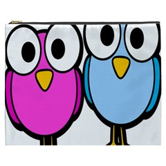 Bird Big Eyes Pink Blue Cosmetic Bag (xxxl)