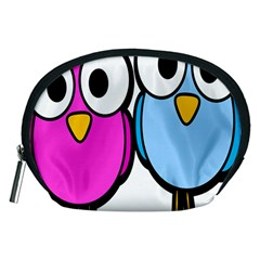 Bird Big Eyes Pink Blue Accessory Pouches (medium)  by Alisyart