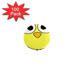 Bird Big Eyes Yellow Green 1  Mini Magnets (100 Pack)  by Alisyart