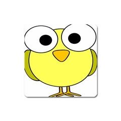 Bird Big Eyes Yellow Green Square Magnet by Alisyart