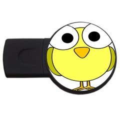 Bird Big Eyes Yellow Green Usb Flash Drive Round (2 Gb) by Alisyart