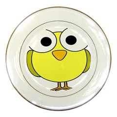 Bird Big Eyes Yellow Green Porcelain Plates by Alisyart