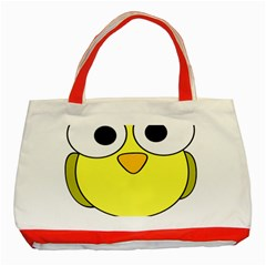 Bird Big Eyes Yellow Green Classic Tote Bag (red) by Alisyart