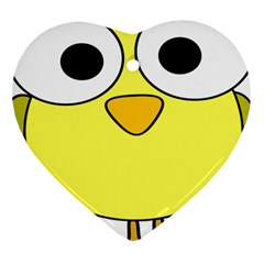 Bird Big Eyes Yellow Green Heart Ornament (two Sides)