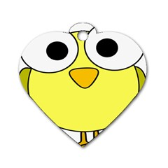 Bird Big Eyes Yellow Green Dog Tag Heart (two Sides) by Alisyart