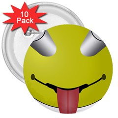 Bug Eye Tounge 3  Buttons (10 Pack)