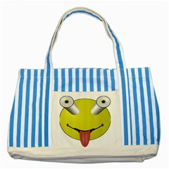 Bug Eye Tounge Striped Blue Tote Bag