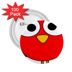 Bird Big Eyes Red 2 25  Buttons (100 Pack)
