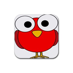 Bird Big Eyes Red Rubber Coaster (square)