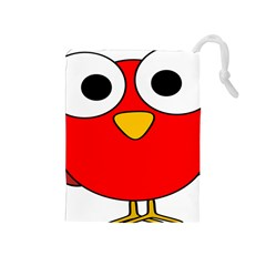 Bird Big Eyes Red Drawstring Pouches (medium)  by Alisyart