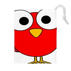 Bird Big Eyes Red Drawstring Pouches (extra Large) by Alisyart