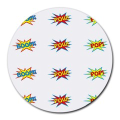 Boom Pow Pop Sign Round Mousepads