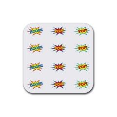 Boom Pow Pop Sign Rubber Square Coaster (4 Pack)  by Alisyart