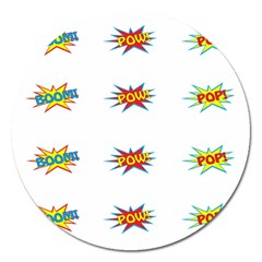 Boom Pow Pop Sign Magnet 5  (round) by Alisyart