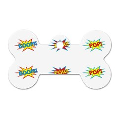Boom Pow Pop Sign Dog Tag Bone (one Side) by Alisyart