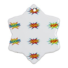 Boom Pow Pop Sign Snowflake Ornament (two Sides) by Alisyart