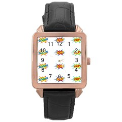 Boom Pow Pop Sign Rose Gold Leather Watch  by Alisyart