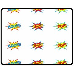 Boom Pow Pop Sign Double Sided Fleece Blanket (medium)  by Alisyart