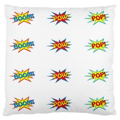 Boom Pow Pop Sign Large Flano Cushion Case (one Side) by Alisyart